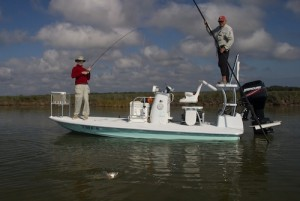 Ken Shannon on the fly rod, Chuck Naiser on the push pole, Aransas National WIldlife Refuge, Texas.