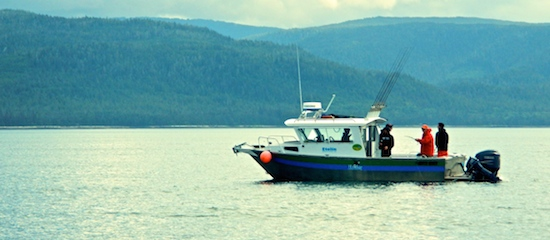 The Etolin, one of the Lodge's vessels, on the halibut grounds.