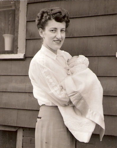 Pauline with her first child, 1952.