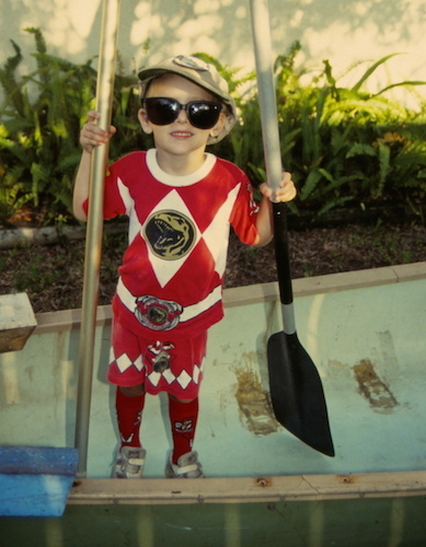 Power Ranger ready to paddle!